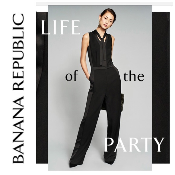 1645680eb3f Banana Republic Pants - Banana Republic Tie Neck Tuxedo Jumpsuit Black 14